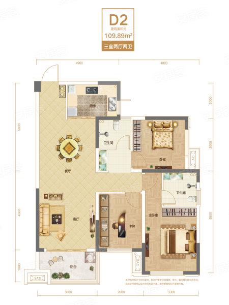 联投银河公园D2户型-3室2厅户型图