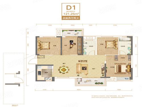 联投银河公园D1户型-4室2厅户型图