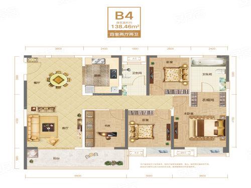 联投银河公园B4户型-4室2厅户型图