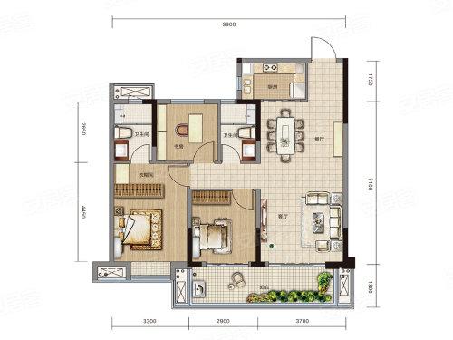 万达大都会 ·天樾C2户型-3室2厅户型图