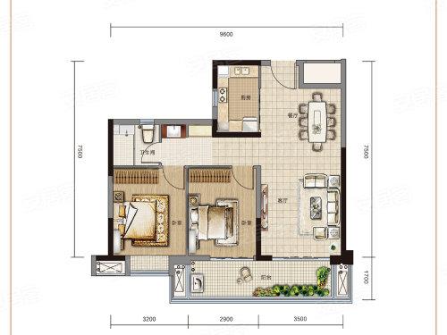万达大都会 ·天樾A1户型-2室2厅户型图