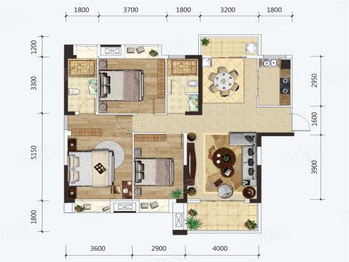 建投·见山H户型-3室2厅户型图