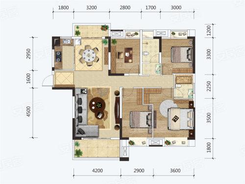 建投·见山J户型-4室2厅户型图