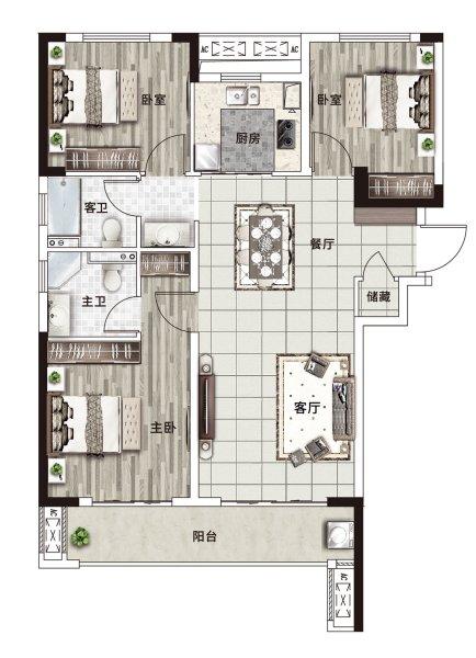 阳光城·文澜府B户型-3室2厅户型图