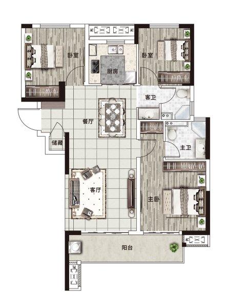 阳光城·文澜府C户型-3室2厅户型图