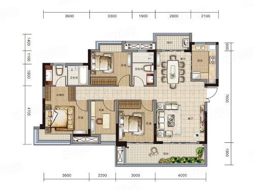 万达大都会 ·天樾E1户型-4室2厅户型图