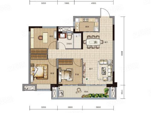 万达大都会 ·天樾B1户型-3室2厅户型图