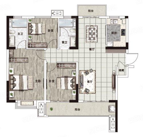 阳光城·文澜府D户型-3室2厅户型图