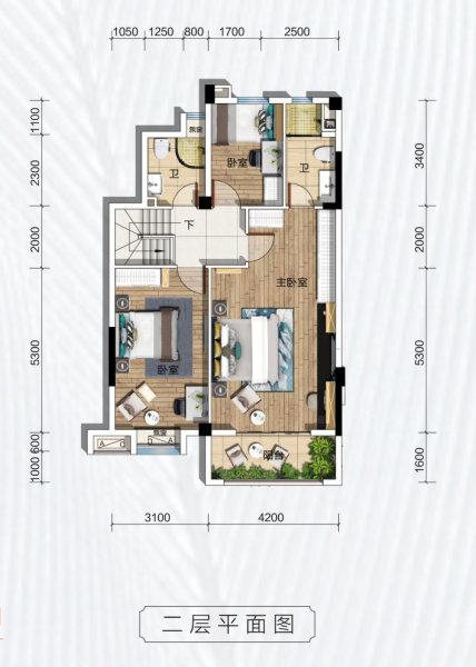 碧桂园凤凰城天峦B1户型-3室2厅户型图