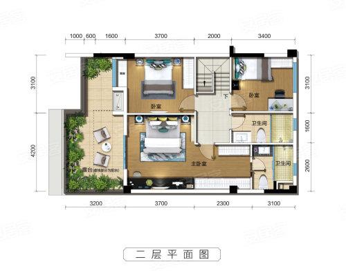 碧桂园凤凰城天峦A户型-3室2厅户型图