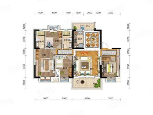 碧桂园凤凰城天樾户型-4室2厅户型图