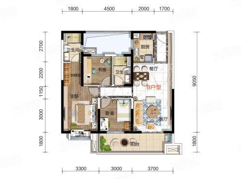 碧桂园凤凰城天汇B户型-3室2厅户型图