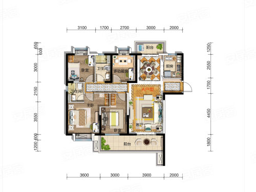 碧桂园凤凰城天汇A户型-4室2厅户型图