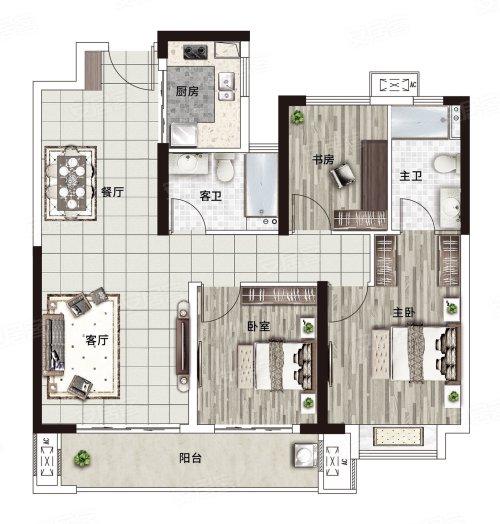 阳光城·文澜府A户型-3室2厅户型图