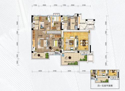 碧桂园凤凰城天峦C户型-4室2厅户型图