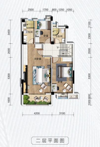 碧桂园凤凰城天峦B户型-3室2厅户型图