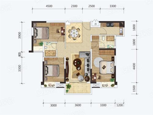 建投·见山G户型-3室2厅户型图