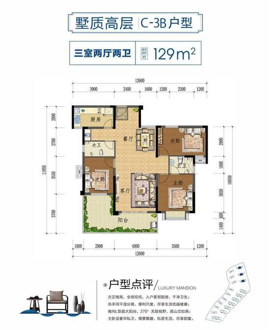 上上城·壹号院墅质高层 C-3B-3室2厅户型图