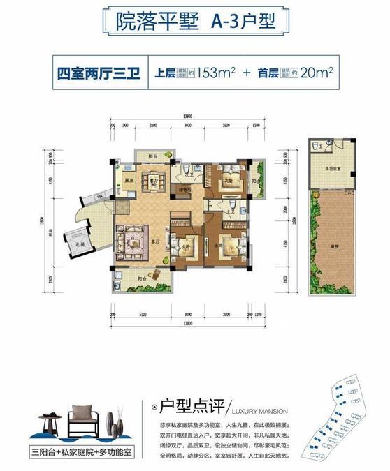 上上城·壹号院院落平墅 A-3户型-4室2厅户型图