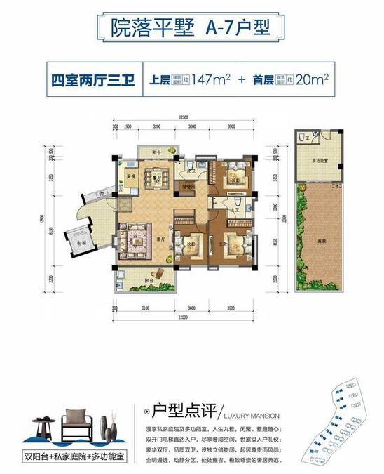 上上城·壹号院院落平墅 A-7户型-4室2厅户型图