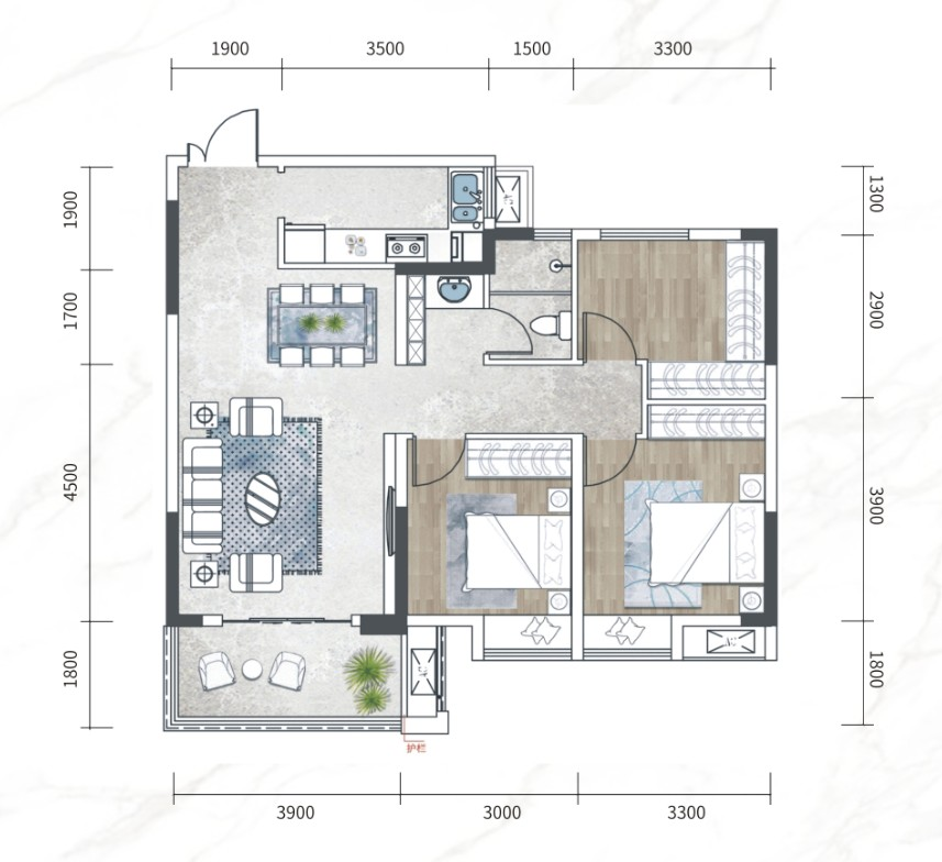 江南URD·那溪谷2期江南URD G-E户型-3室2厅户型图