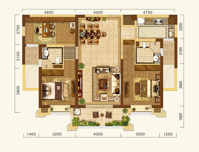 中建·宜昌之星中建·宜昌之星约128㎡户型-3室2厅户型图