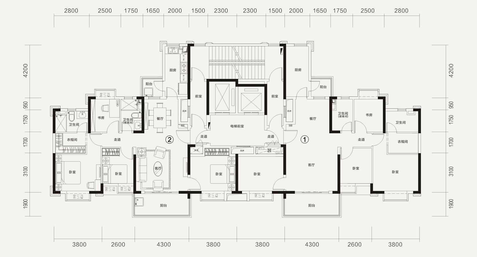 恒大林溪郡恒大林溪郡8-2#楼层面图-4室2厅户型图