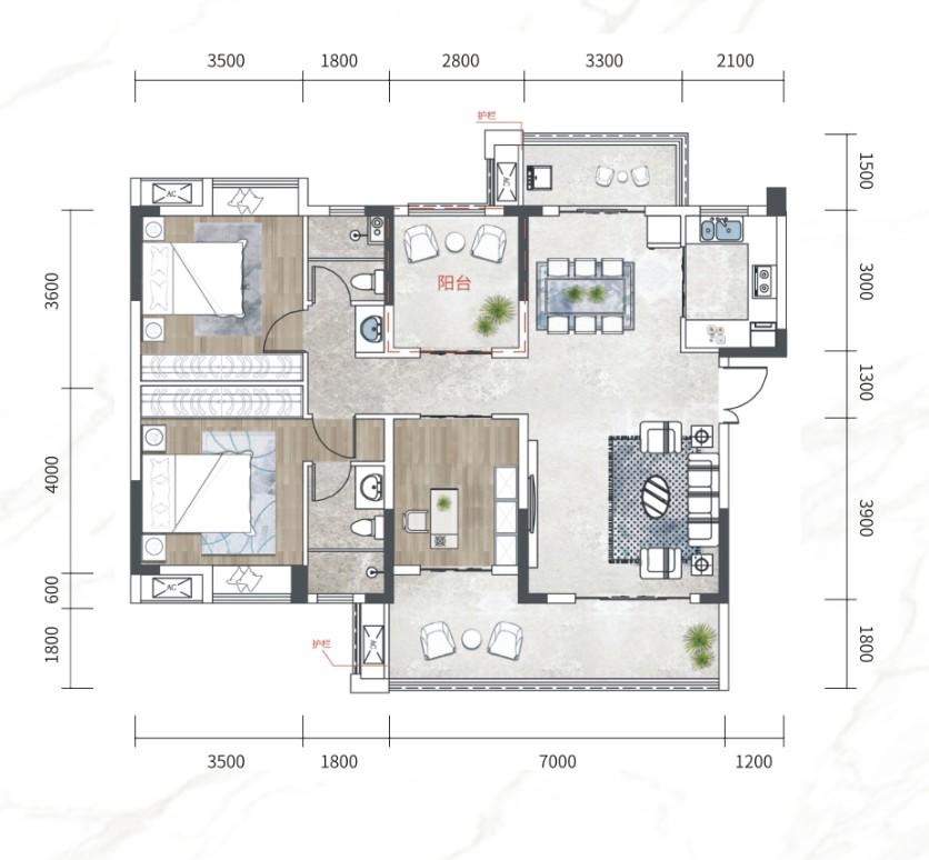 江南URD·那溪谷2期江南URD G-D户型-4室2厅户型图
