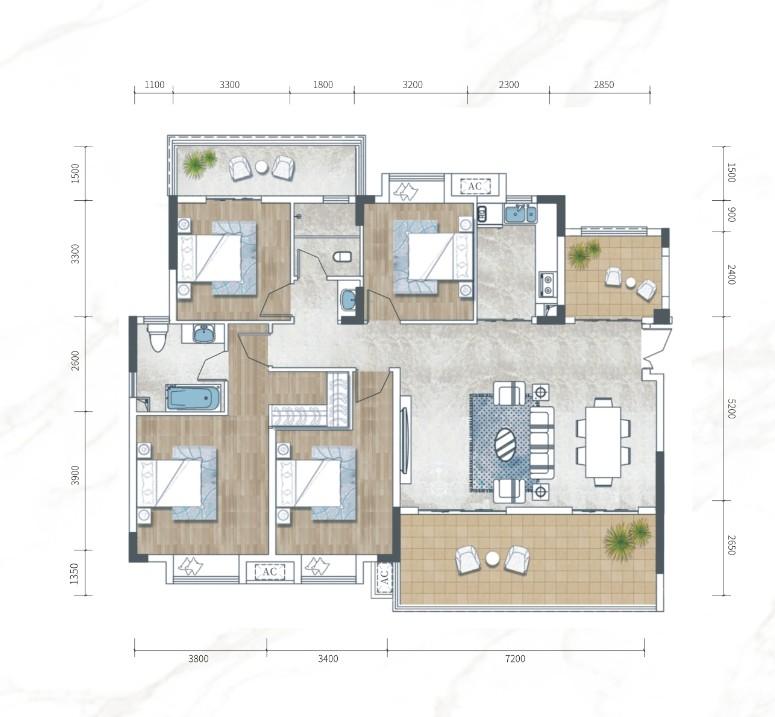 江南URD·那溪谷2期江南URD Y-A1户型-4室2厅户型图