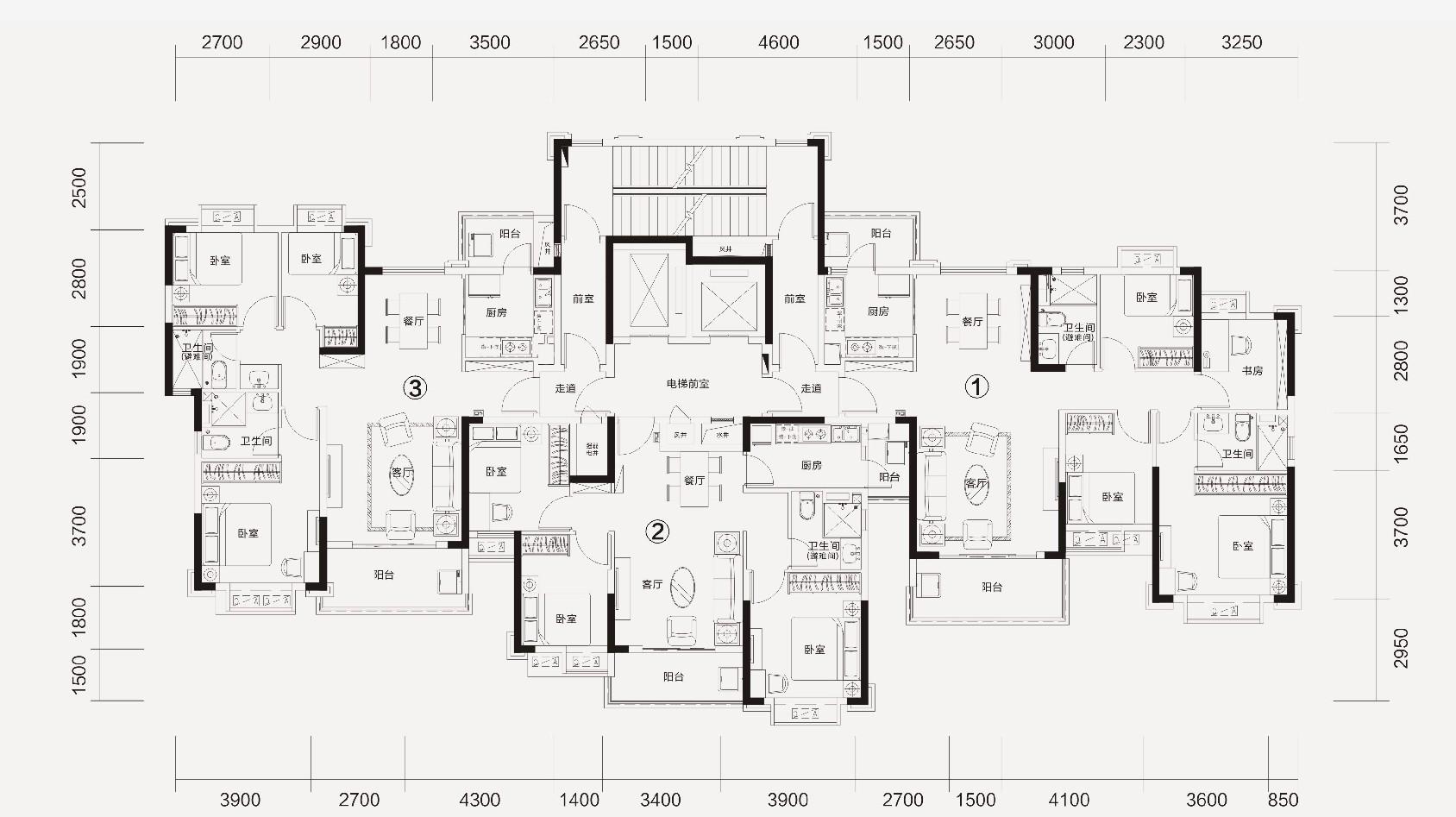 恒大林溪郡恒大林溪郡10#/11#楼层面图-4室2厅户型图