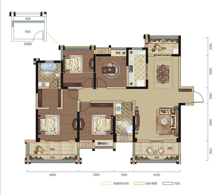 中铁龙盘湖世纪山水A1户型-4室2厅户型图