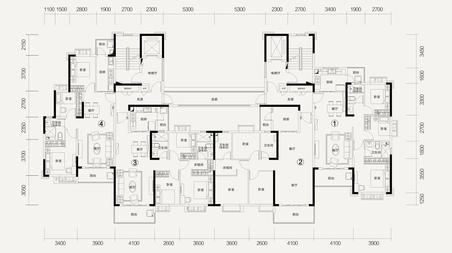 恒大林溪郡恒大林溪郡9#楼层面图-3室2厅户型图