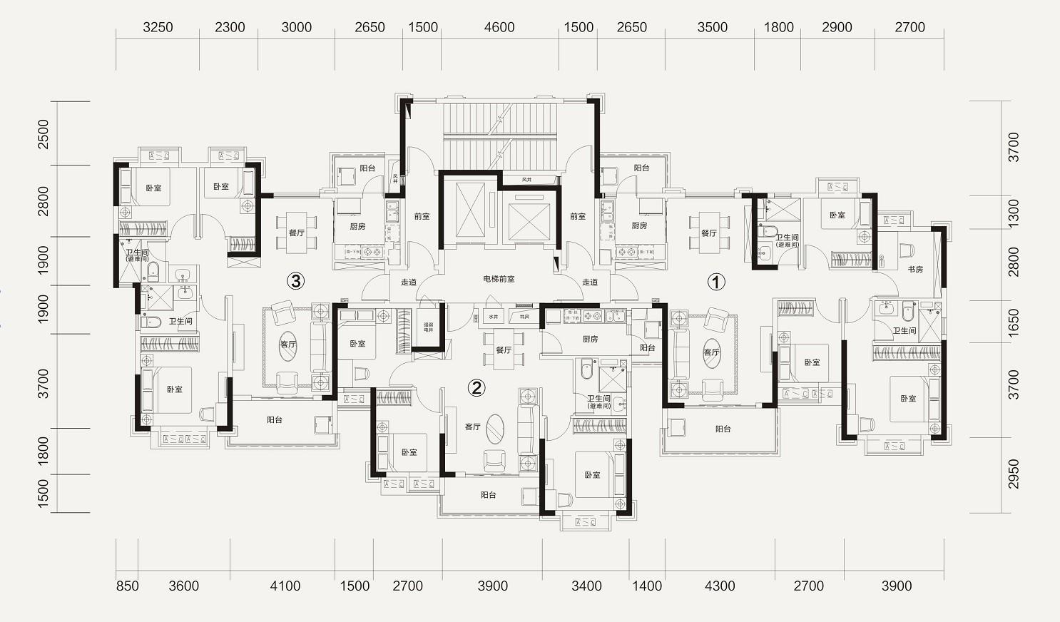 恒大林溪郡恒大林溪郡2-2#楼层面图-4室2厅户型图