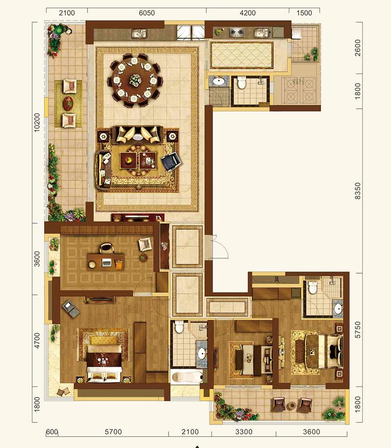 中建·宜昌之星中建·宜昌之星约258㎡户型-4室2厅户型图