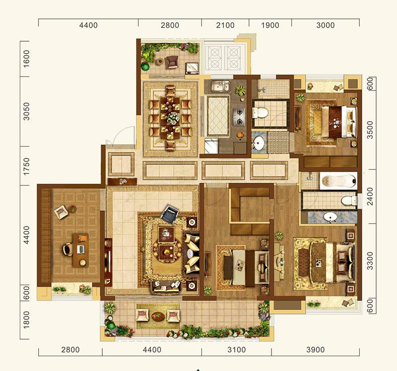 中建·宜昌之星中建·宜昌之星约170㎡C3户型-4室2厅户型图