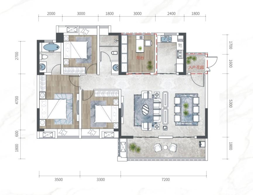 江南URD·那溪谷2期江南URD G-B户型-4室2厅户型图