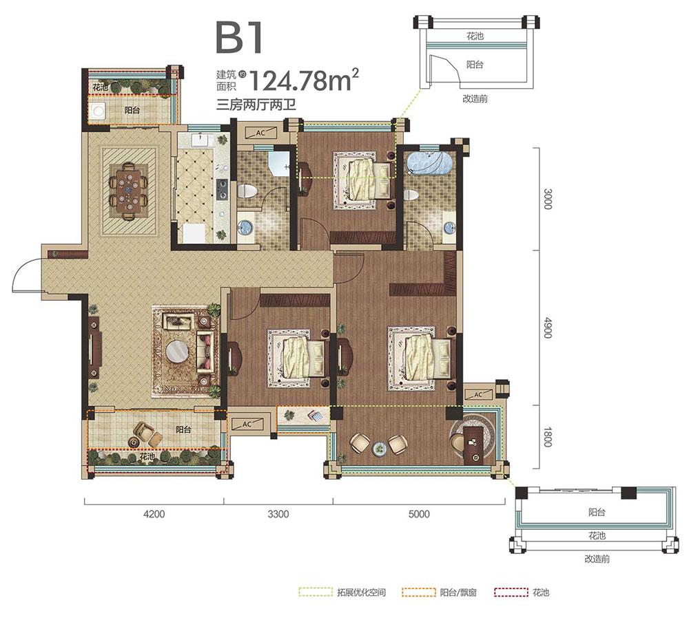中铁龙盘湖世纪山水B1户型-3室2厅户型图