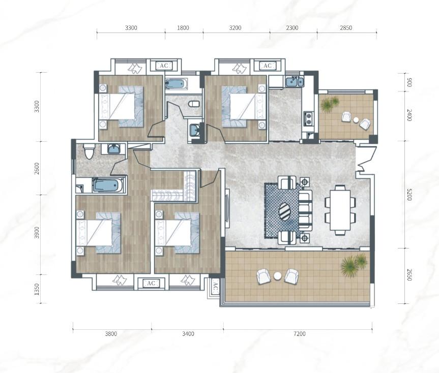 江南URD·那溪谷2期江南URD Y-A户-4室2厅户型图