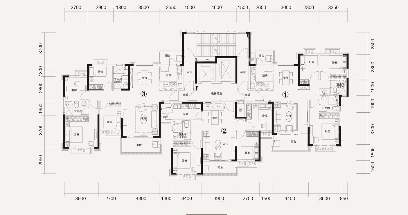 恒大林溪郡恒大林溪郡2-1#楼层面图-3室2厅户型图