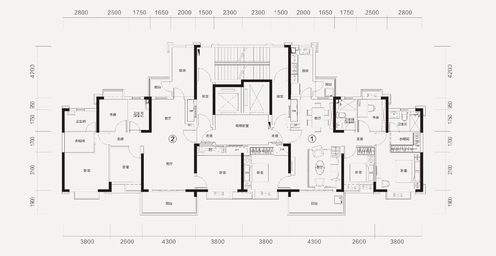 恒大林溪郡恒大林溪郡8-1#楼层面图-4室2厅户型图