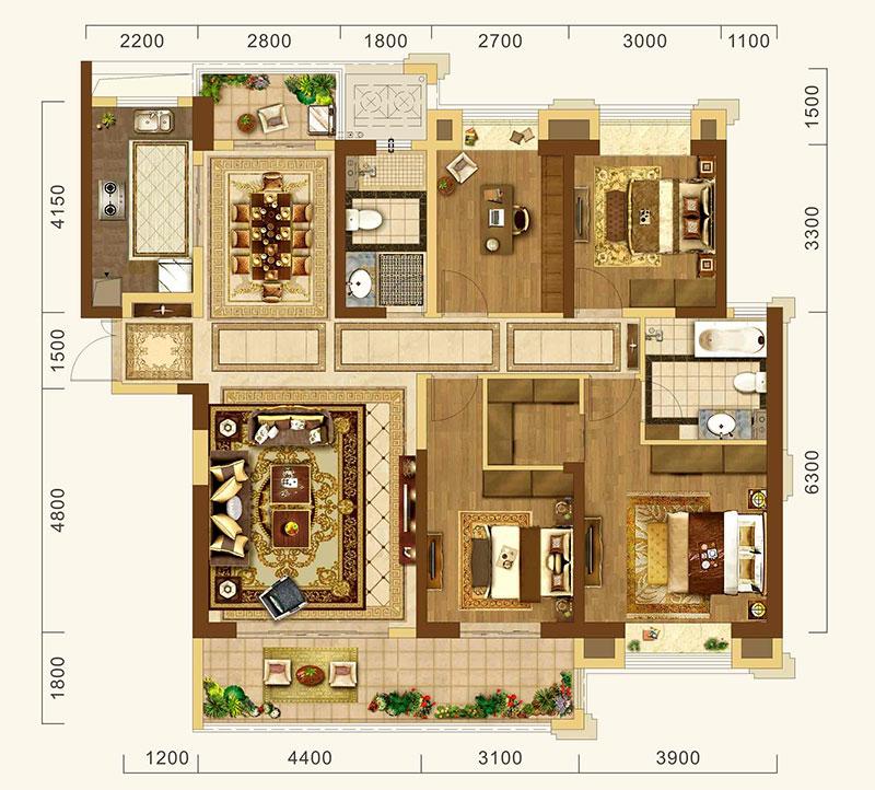 中建·宜昌之星中建·宜昌之星约165㎡户型-4室2厅户型图