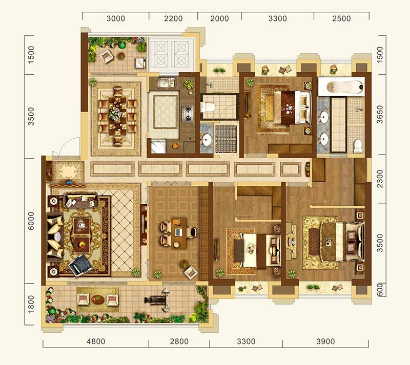 中建·宜昌之星中建·宜昌之星约186㎡户型-4室2厅户型图
