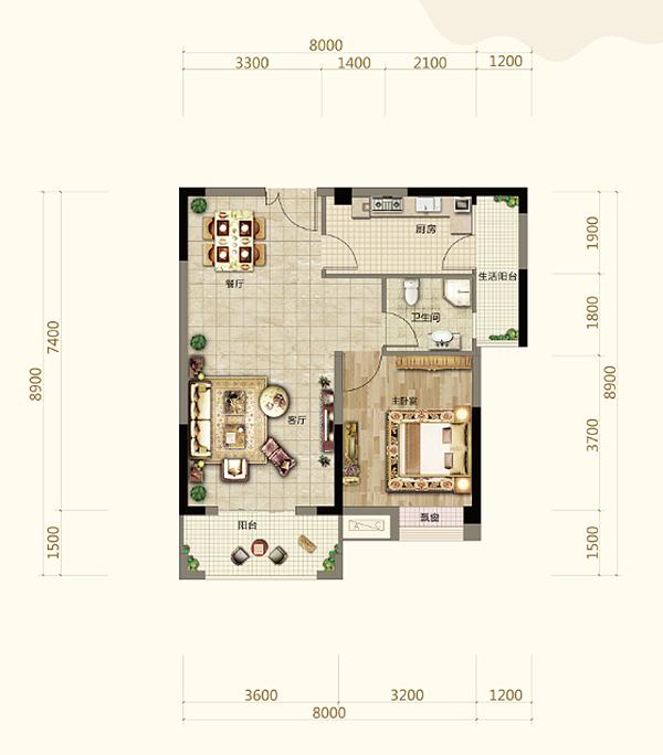 伍领江湖伍领江湖B3户型-1室2厅户型图