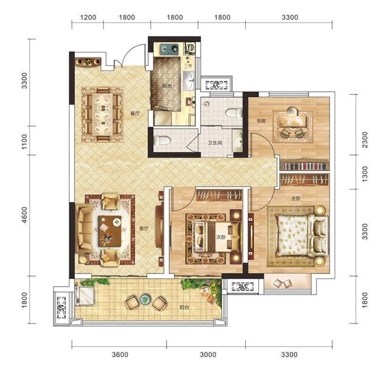 弘洋·新都汇弘洋·新都汇A2户型-3室2厅户型图