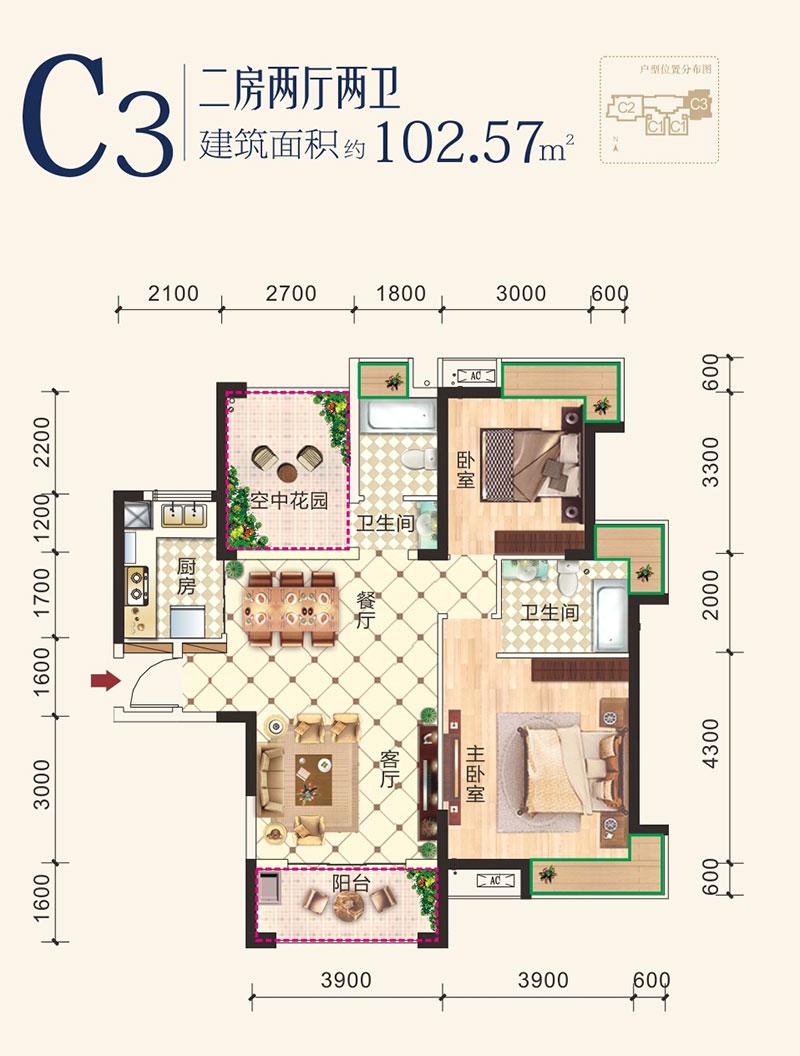 清江尚玲珑2期清江尚玲珑C3户型-2室2厅户型图