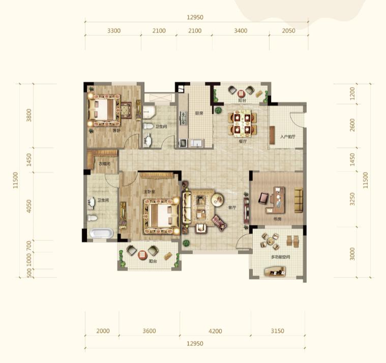 伍领江湖伍领江湖A1户型-3室2厅户型图