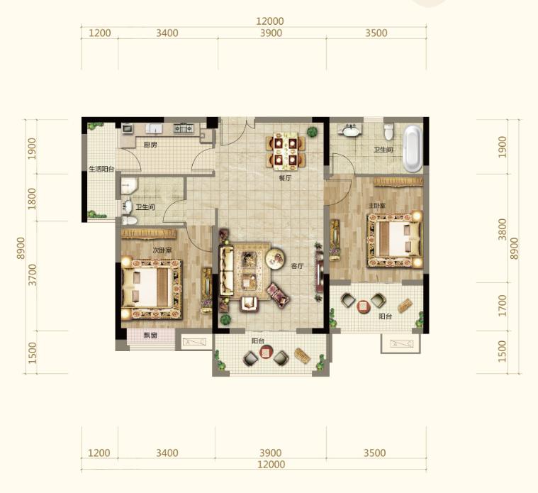 伍领江湖伍领江湖B2户型-2室2厅户型图