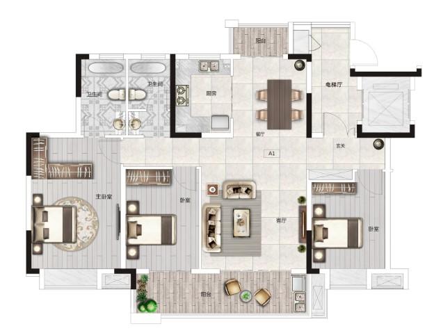 保利·山海大观保利·山海大观Y1户型-3室2厅户型图