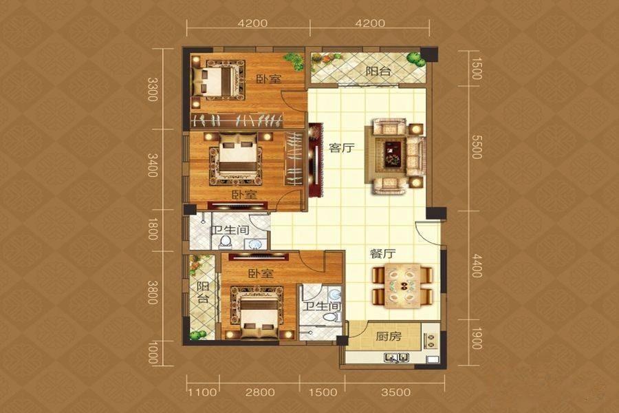 平湖港湾D户型-3室2厅户型图