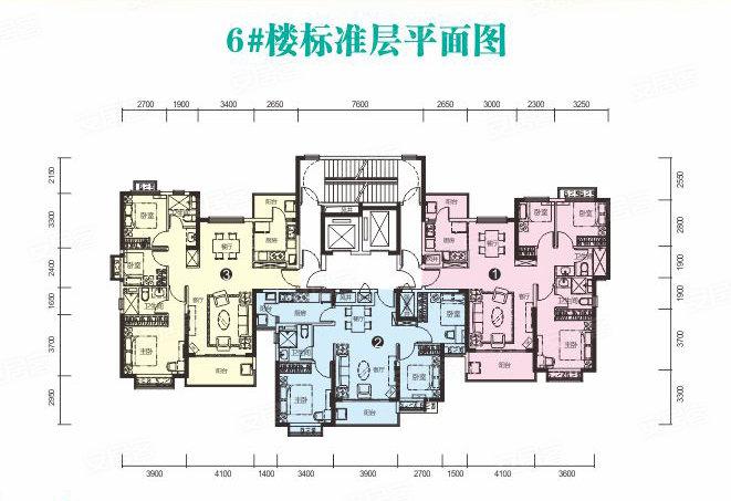 恒大名都6#楼②户型-3室2厅户型图
